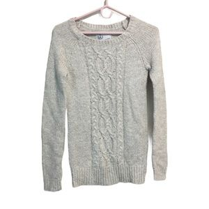Campus Crew Heather Grey Cable Knit Sweater